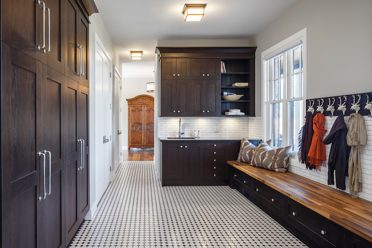 black-and-white-mudroom-floor-octagon-dot-tiles-long-mudroom-bench